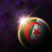 Algeria Flag on 3d football ball — Stockfoto