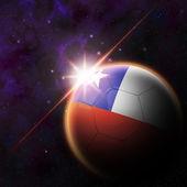 Chile Flag on 3d football ball — Stockfoto