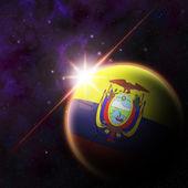 Ecuador Flag on 3d football ball — Foto de Stock