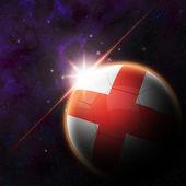 England Flag on 3d football ball — Foto de Stock