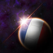 France Flag on 3d football ball — Zdjęcie stockowe