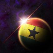 Ghana Flag on 3d football ball — Stockfoto