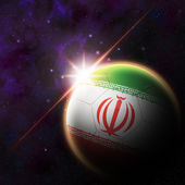 Iran Flag on 3d football ball — Foto de Stock