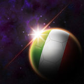 Italy Flag on 3d football ball — Stock Photo