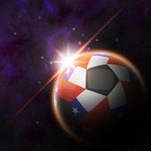 Chile Flag on 3d football ball — Stock Photo