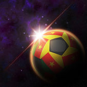 Camerroon Flag on 3d football ball — Stock Photo