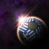 Greece Flag on 3d football ball — Photo
