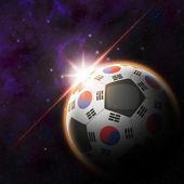 South Korea Flag on 3d football ball — Stock Photo