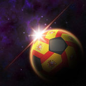 Spain Flag on 3d football ball — Stock Photo