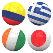 3D soccer balls with group C teams flags — Stock Photo