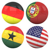 3D soccer balls with group G teams flags — Stock Photo