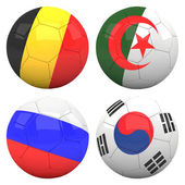 3D soccer balls with group H teams flags — Stock Photo
