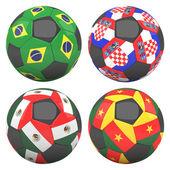 3d piłka nożna piłki z grupy zespołów flagi — Zdjęcie stockowe