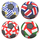 3D soccer balls with group D teams flags — Stock Photo