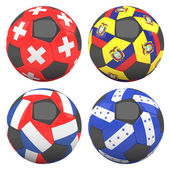 3D soccer balls with group E teams flags — Stock Photo