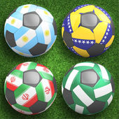 Soccer balls with group F teams flags — Stock Photo