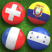 Soccer balls with group E teams flags — Stock Photo
