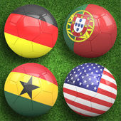 Soccer balls group G teams flags — Stock Photo