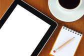 Tablet pc, notepad, pen, money and cup of coffee — Foto de Stock