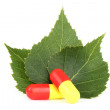 Pills closeup with three leaves — Foto Stock