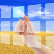 Foto Stock: Womhand pushing virtual icons on interface over wheat field
