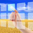 Stock Photo: Womhand pushing virtual icons on interface over wheat field