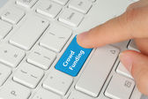 Hand pushing blue crowd funding button — Stockfoto