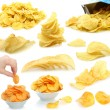 Set of potato chips heaps — Foto Stock