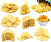 Conjunto de chips de patata montones — Foto de Stock