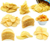 Set of potato chips heaps — Stock Photo