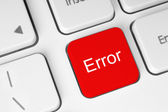 Red error keyboard button — Stock Photo