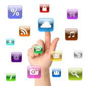 Woman hand pressing cloud computing icon — Stock Photo
