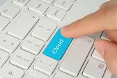 Hand pushing cloud computing button — Stock Photo