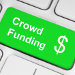Green crowd funding button - Zdjęcie stockowe