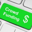 Green crowd funding button — Stock Photo