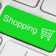 Shopping cart icon on keyboard - Stock Photo
