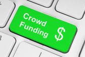 Green crowd funding button — Stok fotoğraf