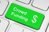Yeşil kalabalık finansman düğmesi — Stok fotoğraf