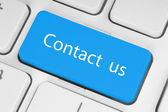 Big blue contact us button — Stock Photo