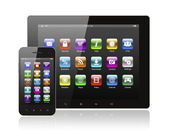 Tablet pc and smart phone with icons — Stock Photo