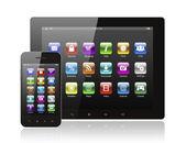 Tablet pc y teléfonos inteligentes con iconos — Foto de Stock