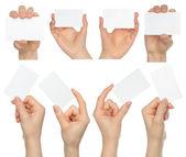 руки держать визитные карточки коллаж — Стоковое фото