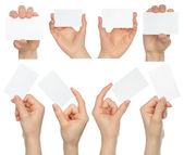 Hands hold business cards collage — Stock fotografie