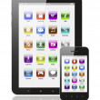 Tablet pc and smart phone with icons - Foto de Stock  