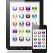 Tablet pc and smart phone with icons - Stok fotoğraf