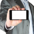 Businessman holding blank smart phone - Stok fotoğraf