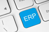 Blue ERP button — Stock Photo
