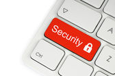 Red security button on the keyboard — Stock Photo