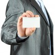 Businessman with white card — Stock Photo