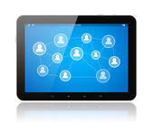 Tablet PC with social media illustration — Stock Photo